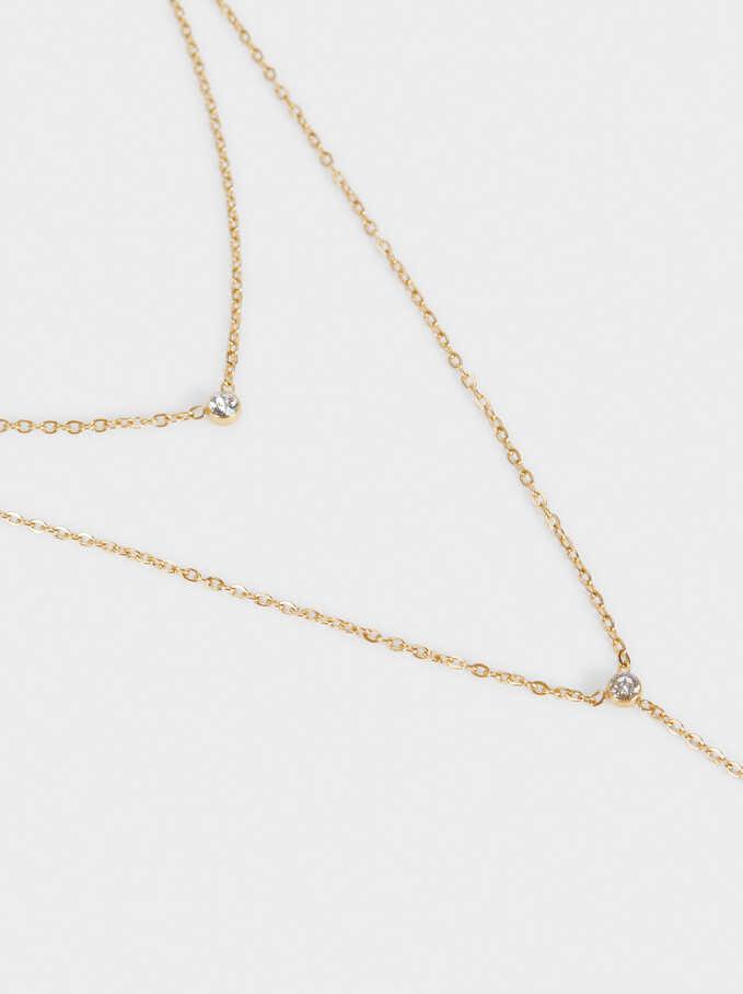 Collar Corto De Acero Con Cristales Swarovski, Dorado, hi-res