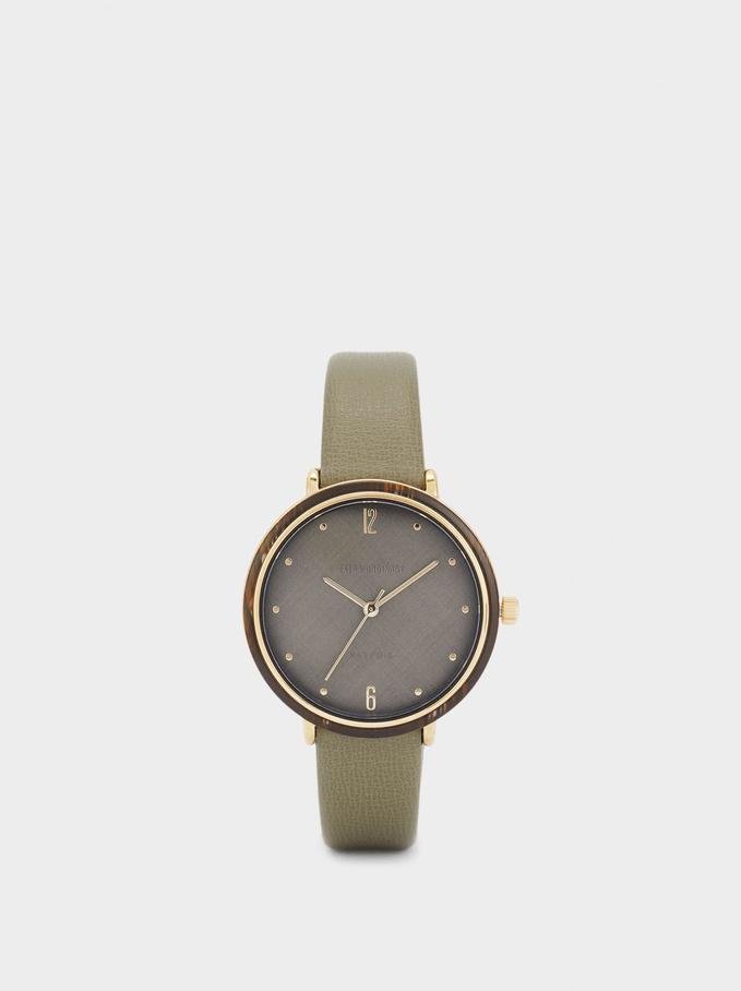 Reloj Con Esfera A Contraste, Caqui, hi-res