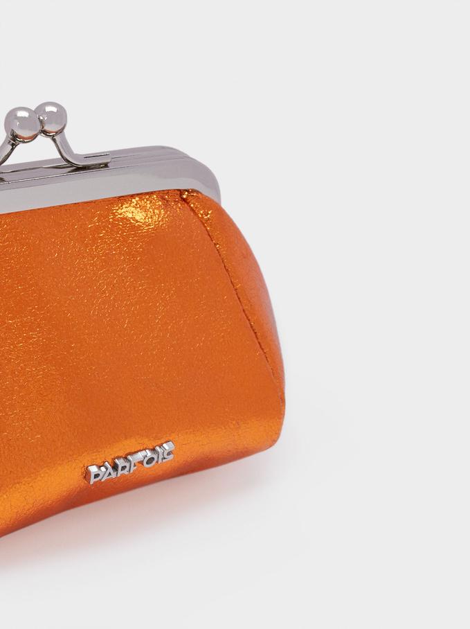 Portamonete Con Chiusura A Scatto, Arancione, hi-res