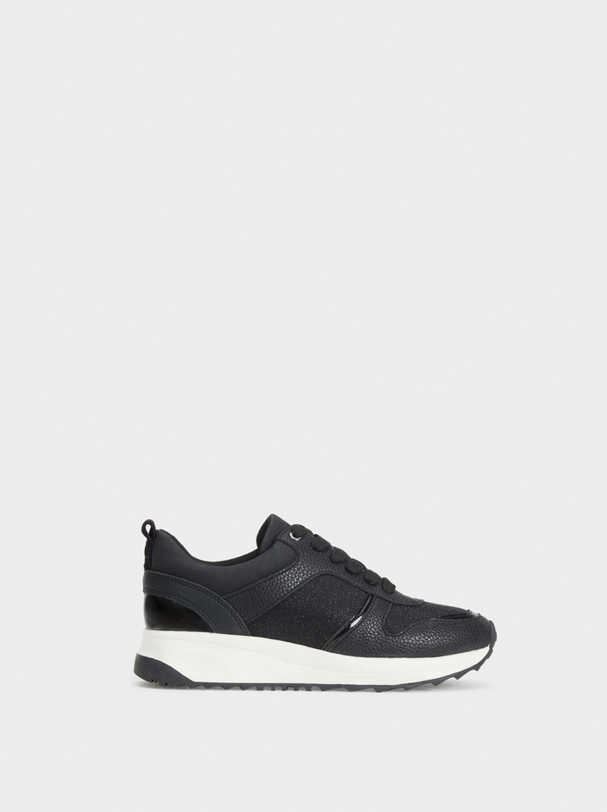 Running Basic Sneakers, Black, hi-res