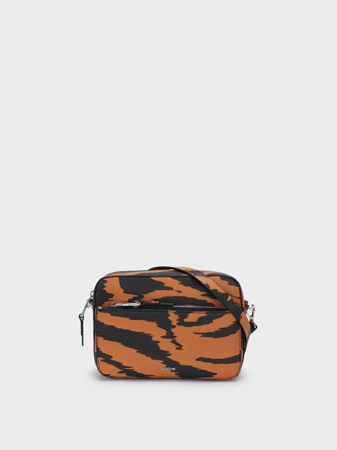 Bolso Bandolera Estampado Animal, Naranja, hi-res