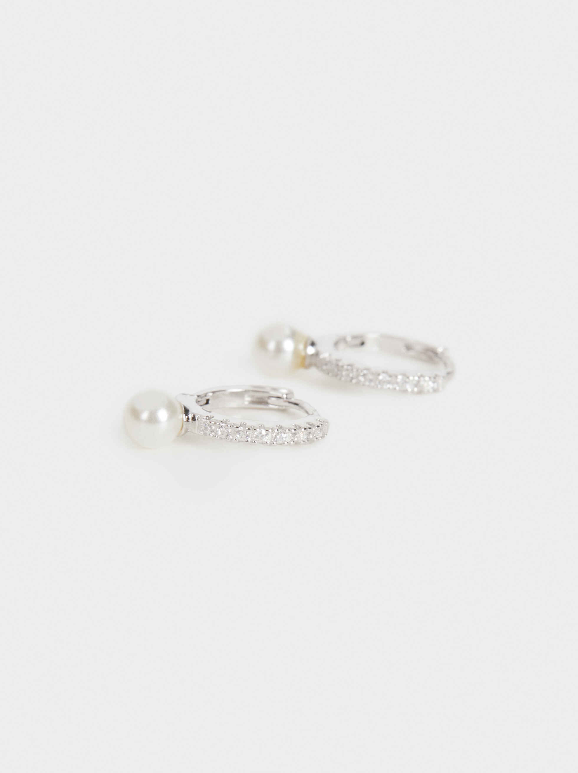 Small 925 Silver Faux Pearl Hoop Earrings, Beige, hi-res