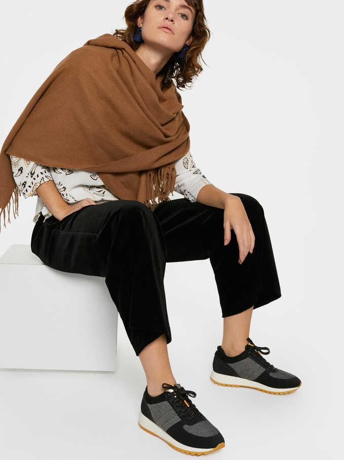 Tweed Sneakers, Black, hi-res
