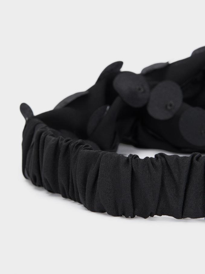 Beaded Turban-Style Headband, Black, hi-res