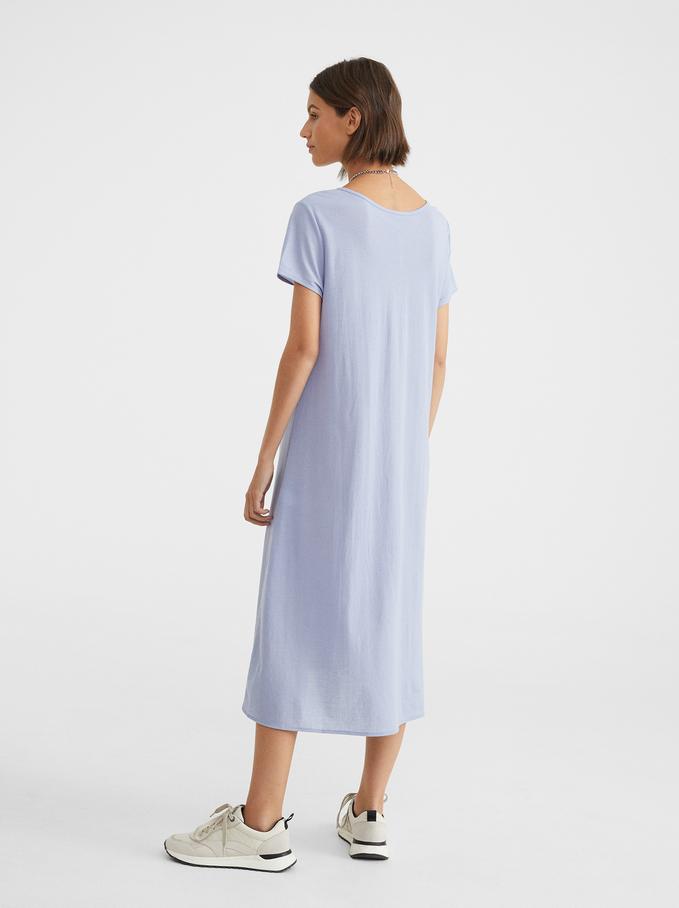 Dress With V-Neckline, Blue, hi-res