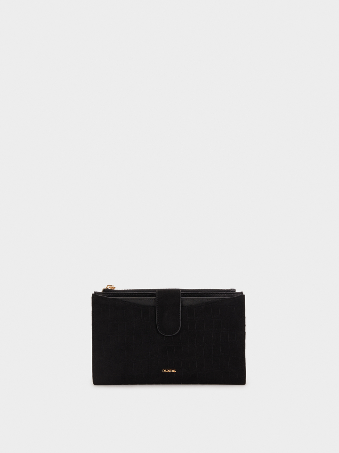 Fake Suede Wallet, Black, hi-res