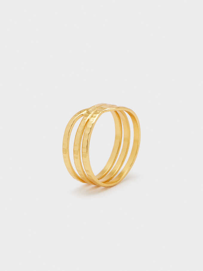 Asymmetrical 925 Silver Ring, Golden, hi-res