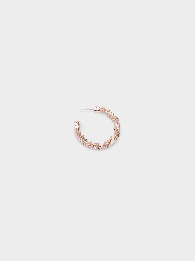 Hoop Earrings With Raised Effect, Orange, hi-res