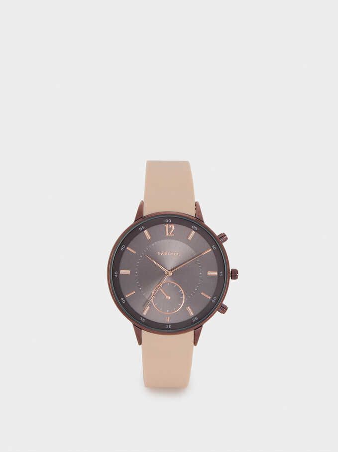 Watch With Silicone Strap And Round Face, Pink, hi-res