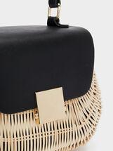 Crossbody Bag With A Textured Raffia Body, Black, hi-res