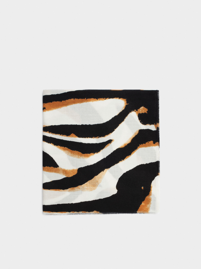 Animal Print Maxi Scarf, Brown, hi-res