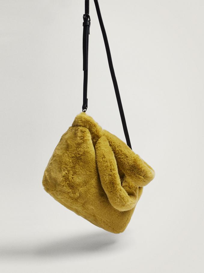 Fur Shoulder Bag, Yellow, hi-res