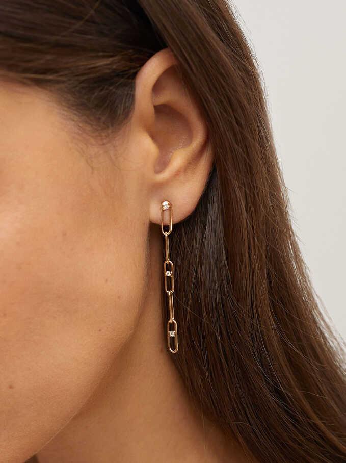 Long Earrings With Zirconia, Golden, hi-res