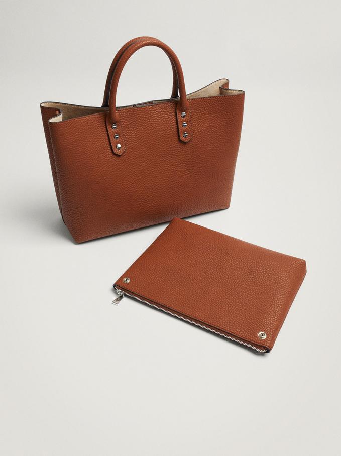 "Embossed Briefcase For 13"" Laptop, Camel, hi-res"