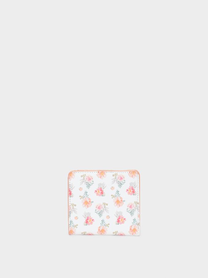 Portefeuille Imprimé Floral, Rose, hi-res