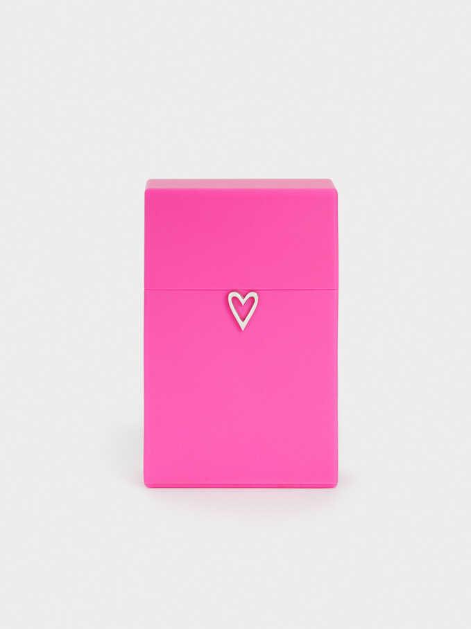 Heart Face Mask Holder, Pink, hi-res