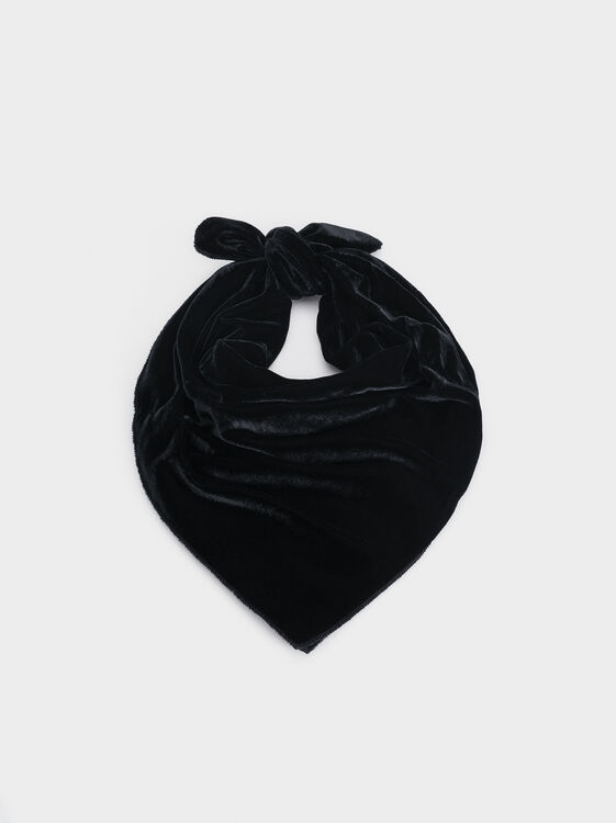 Velvet Headscarf, Black, hi-res