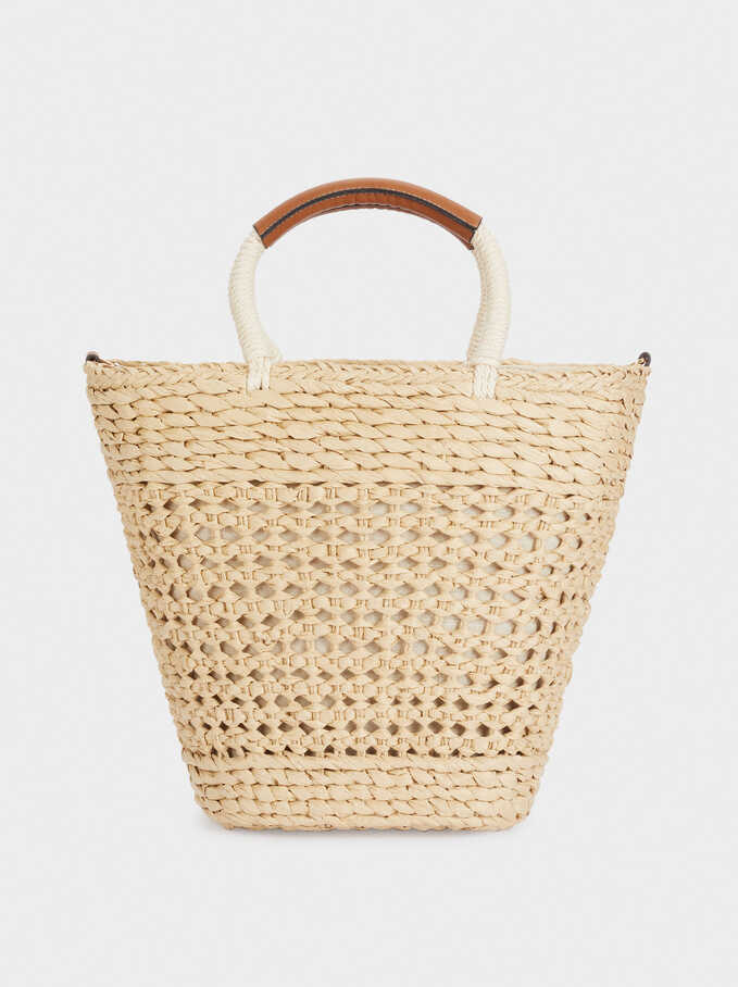 Woven Shopper Bag With Double Strap, Beige, hi-res
