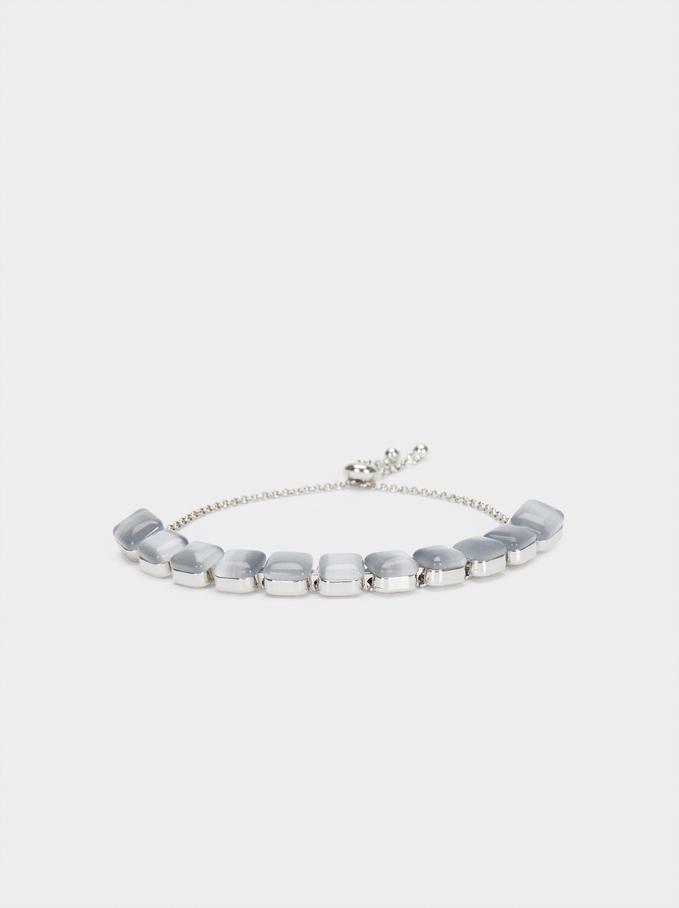Bracelet Réglable Doré Avec Cristaux, Argent, hi-res