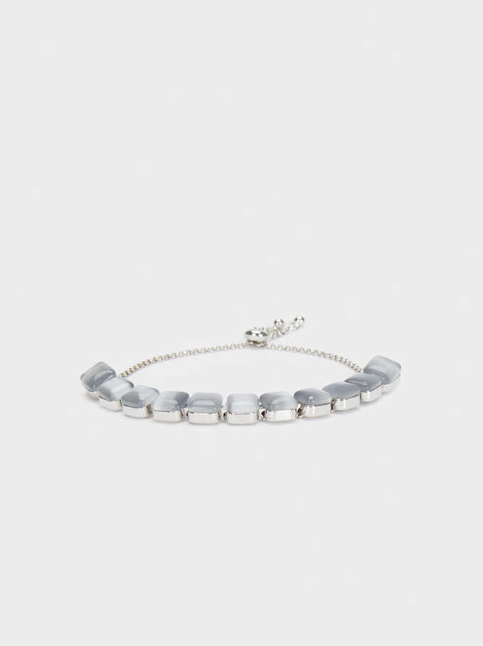 Adjustable Gloden Bracelet With Crystals, Silver, hi-res