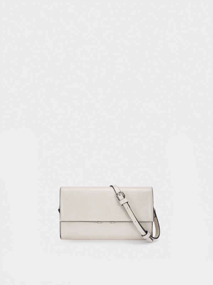 Crossbody Belt Bag With Front Flap Closure, Ecru, hi-res