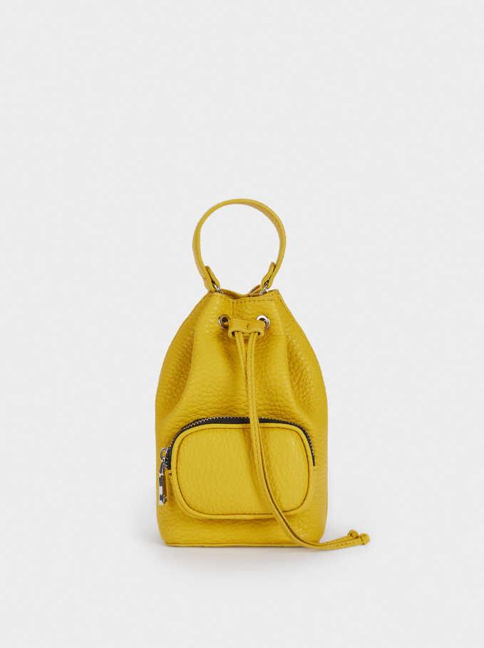 Chain Handle Bucket Bag, Yellow, hi-res