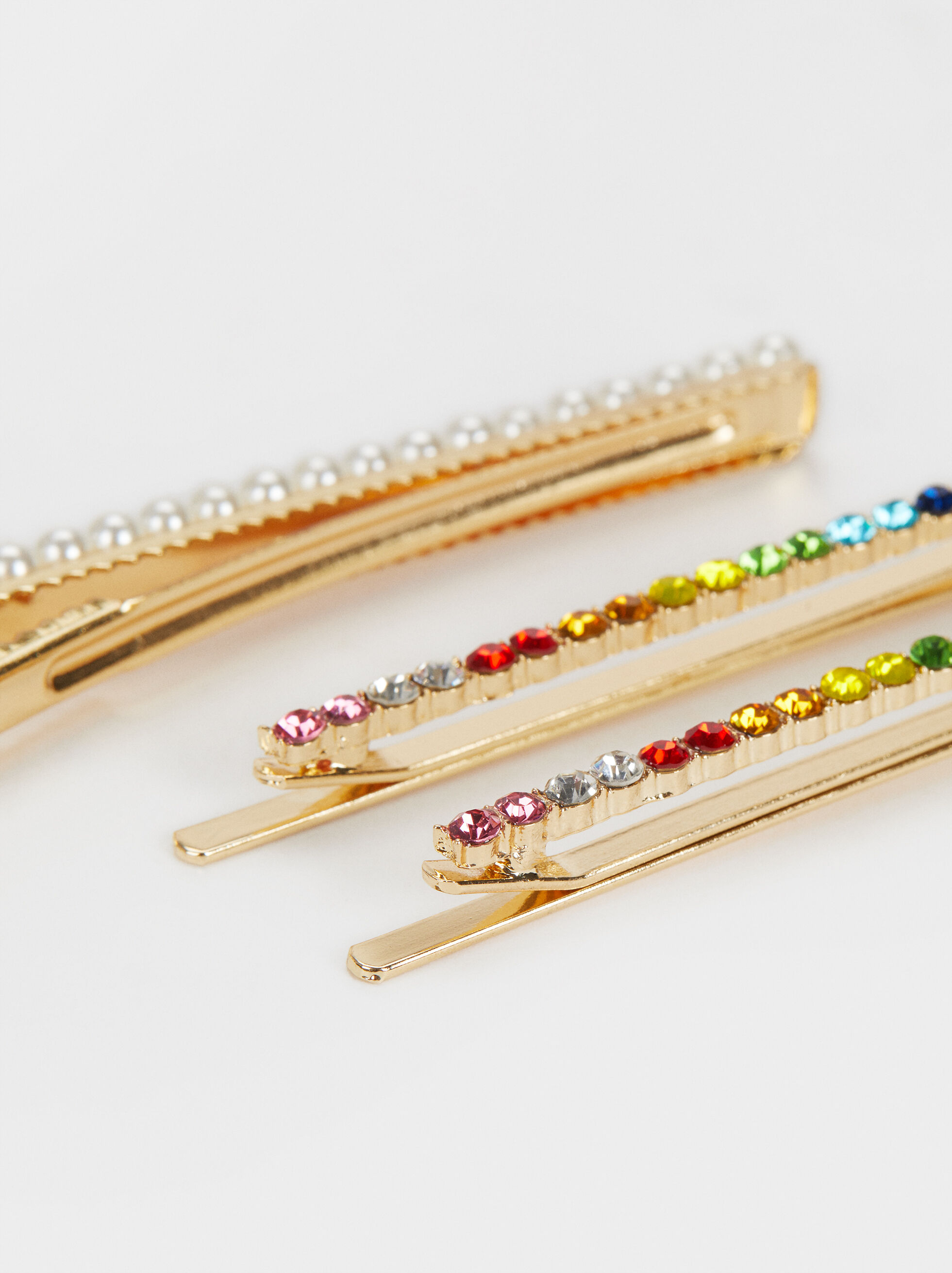 Rhinestone Hairclip Set, Multicolor, hi-res