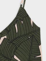 Combinaison À Bretelles Imprimé Feuilles, Kaki, hi-res