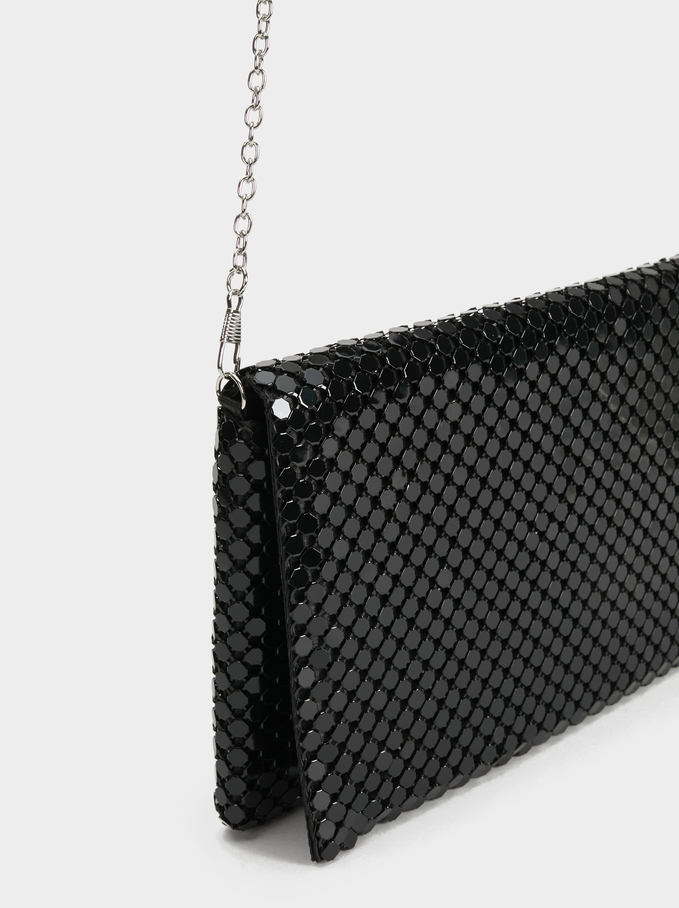 Big Mesh Party Clutch, Black, hi-res