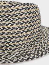 Chapeau En Texture Raphia, Noir, hi-res