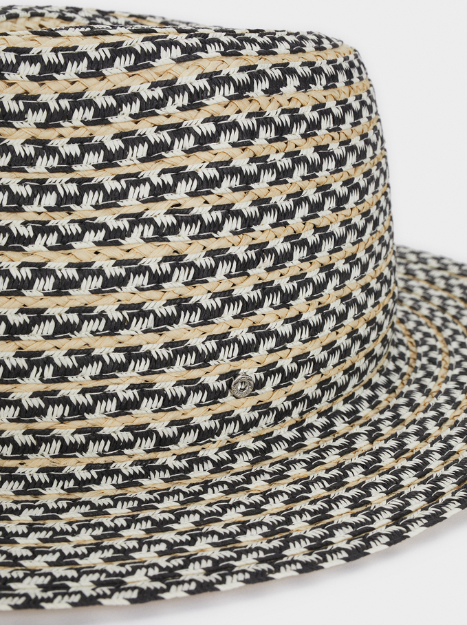 Raffia Textured Hat, Black, hi-res