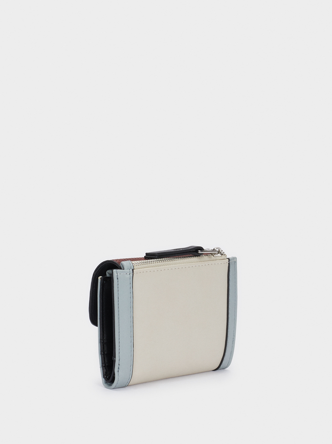Compact Contrast Wallet With Coin Purse, Bordeaux, hi-res