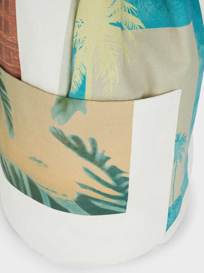 Palm Tree Print Maxi Bag, Ecru, hi-res