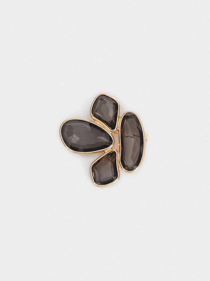 Exclusive Collection Brooch, Brown, hi-res