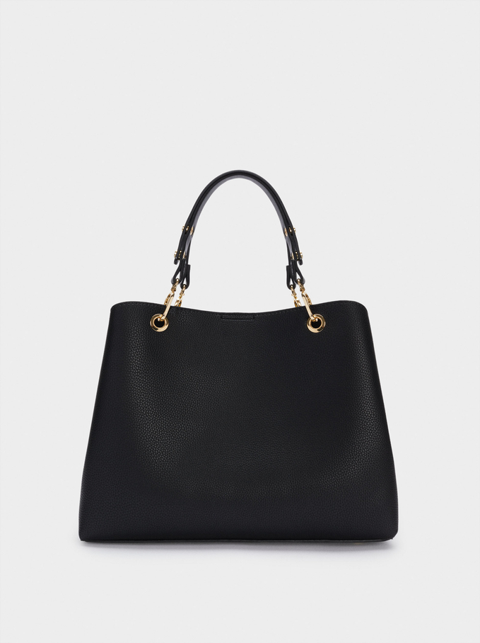 Tote Bag With Adjustable Straps, Black, hi-res