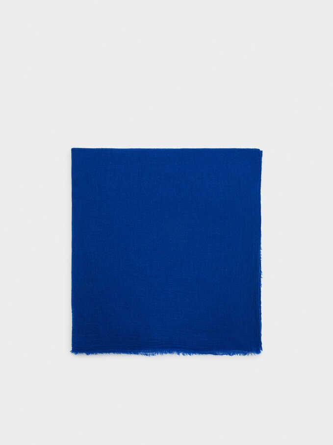 Foulard Pashmina Uni, Bleu, hi-res