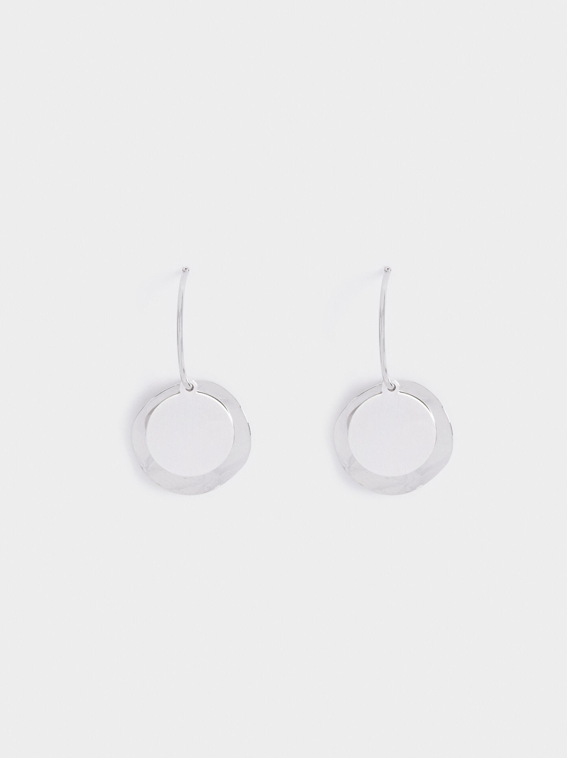 Medium Hoop Earrings With Pendants, Silver, hi-res