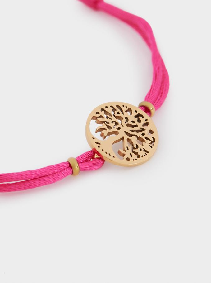 Bracelet Avec Cordon Réglable Arbre, Rose, hi-res