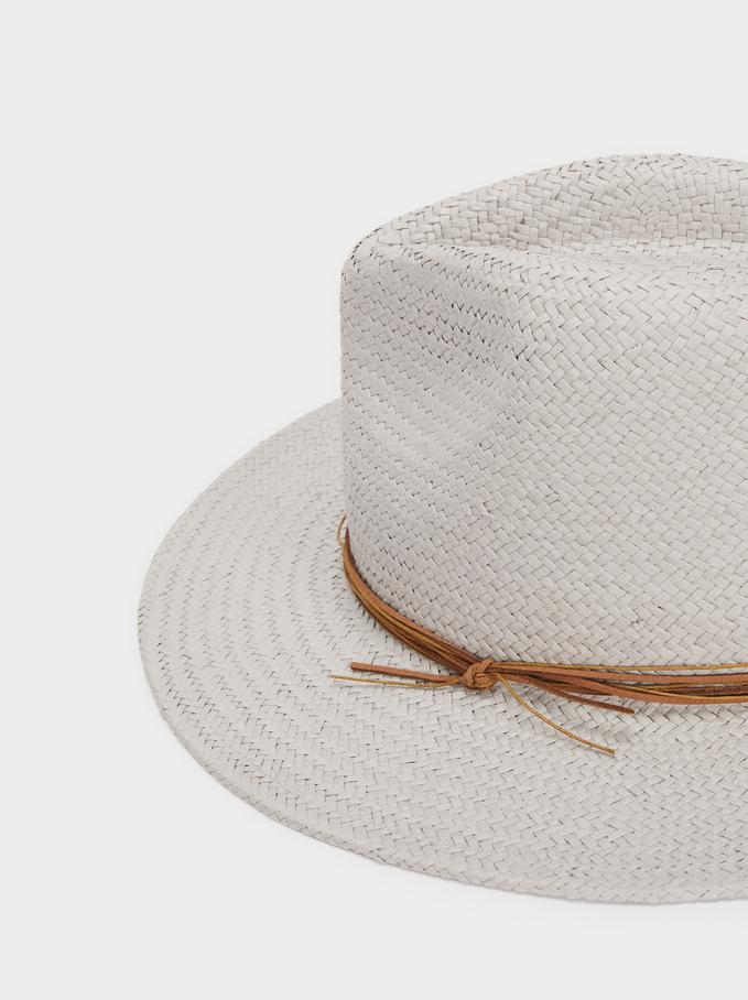 Chapeau En Texture Raphia, Gris, hi-res