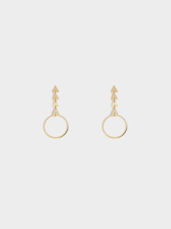 Steel Long Earrings With Circles, Golden, hi-res
