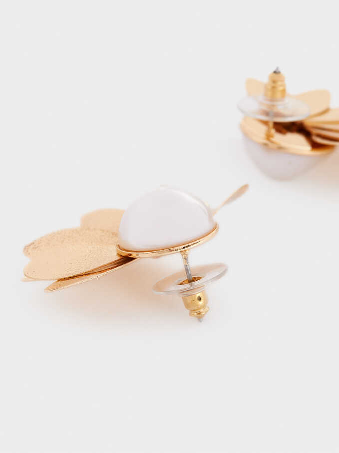 Short Rose Gold Metal Earrings, White, hi-res