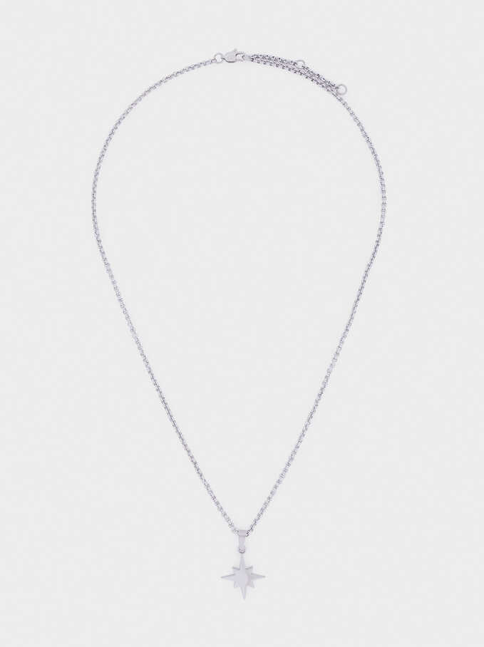 Short Stainless Steel Necklace With Star, Silver, hi-res