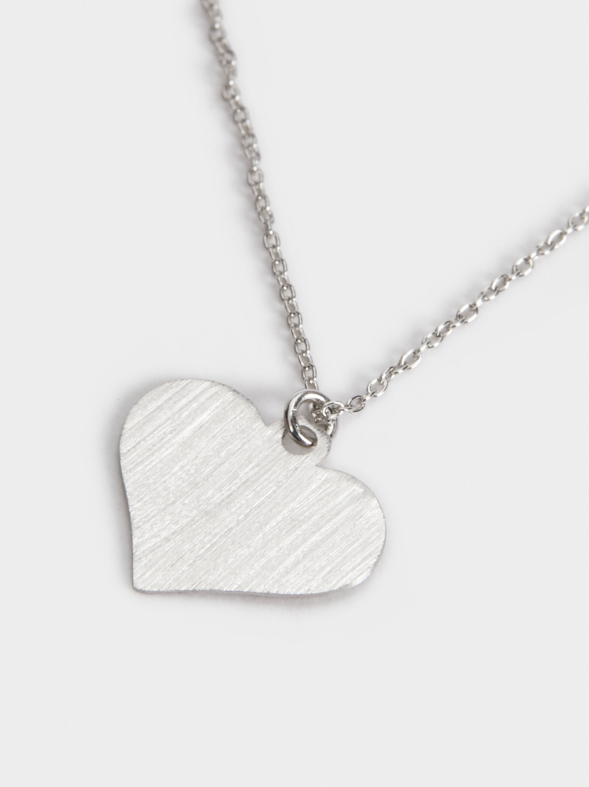 Short Silver 925 Heart Necklace, Silver, hi-res