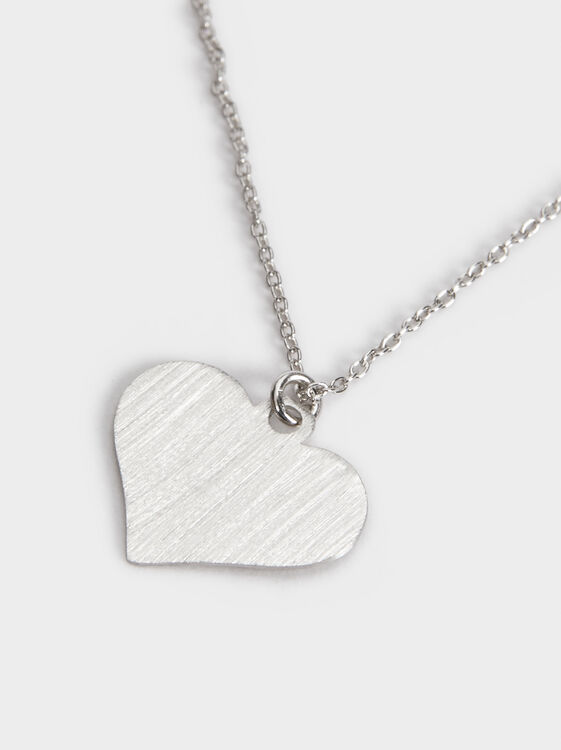 Short Silver 925 Heart Necklace, Silver, hi-res