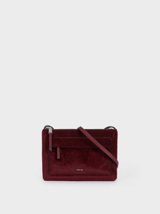 Faux Fur Crossbody Bag With Outer Pocket, Bordeaux, hi-res