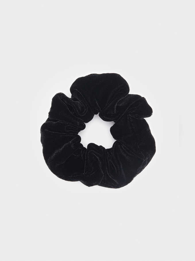 Velvet Hair Tie, Black, hi-res