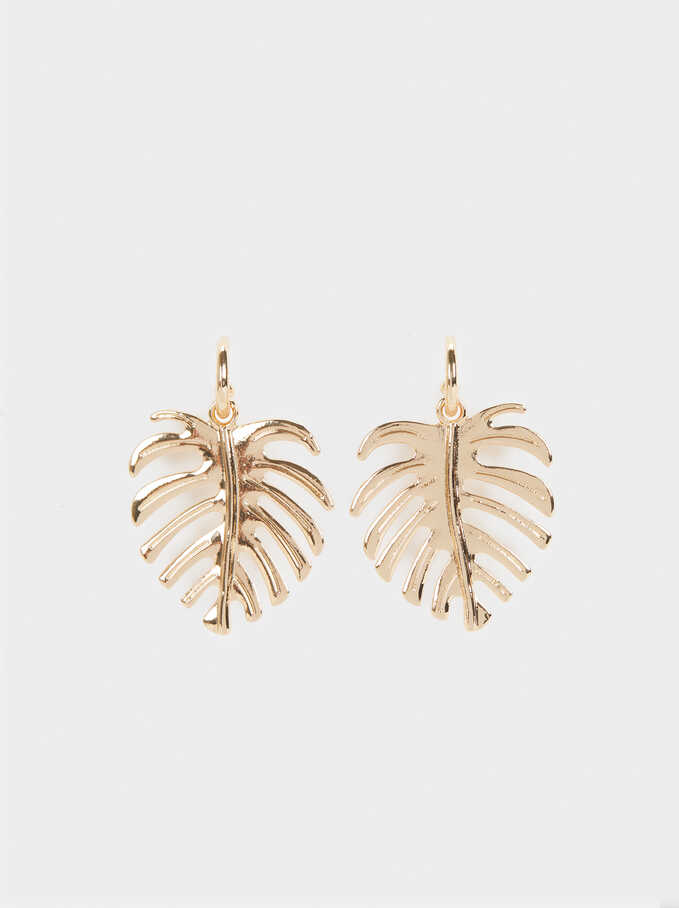Medium Gold Leaf Earrings , Golden, hi-res