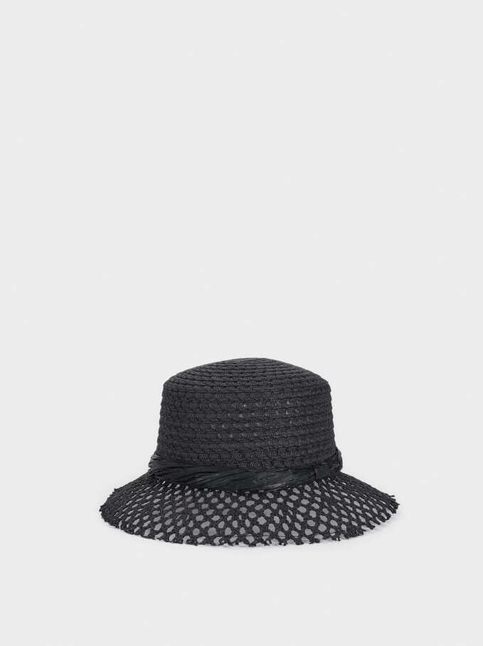Textured Raffia Hat, Black, hi-res