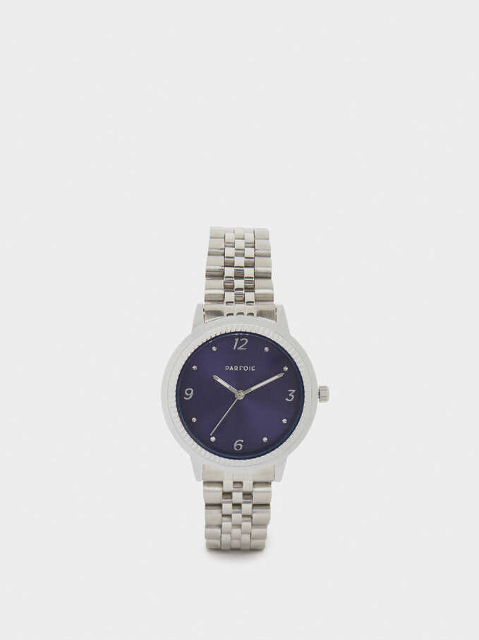 Stainless Steel Watch With Two-Tone Strap, Silver, hi-res