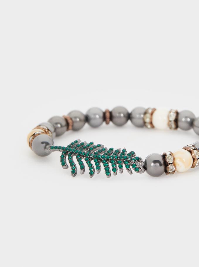 Elasticated Leaf Bracelet With Multicoloured Crystals, Multicolor, hi-res